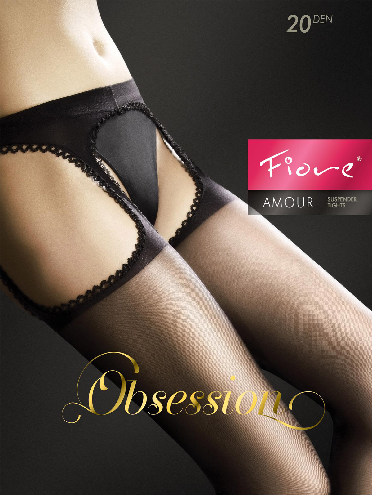 Fiore - Suspender Tights Amour Red