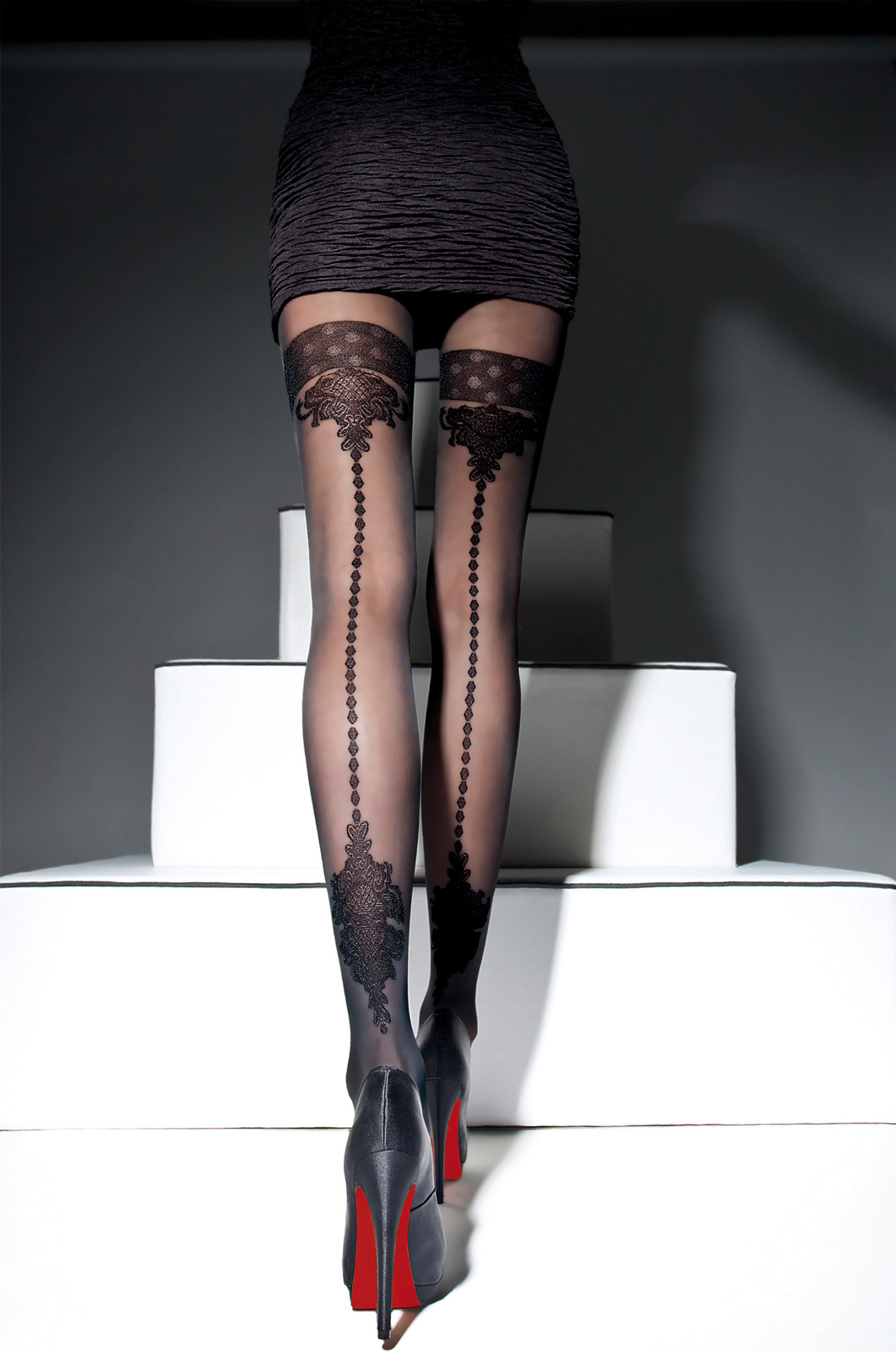 Fiore - Patterned Tights Apriel Black