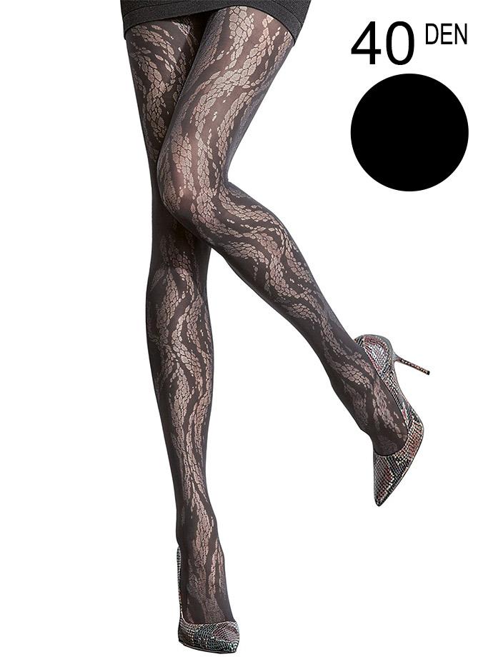 Fiore - Patterned Tights Denissa Black
