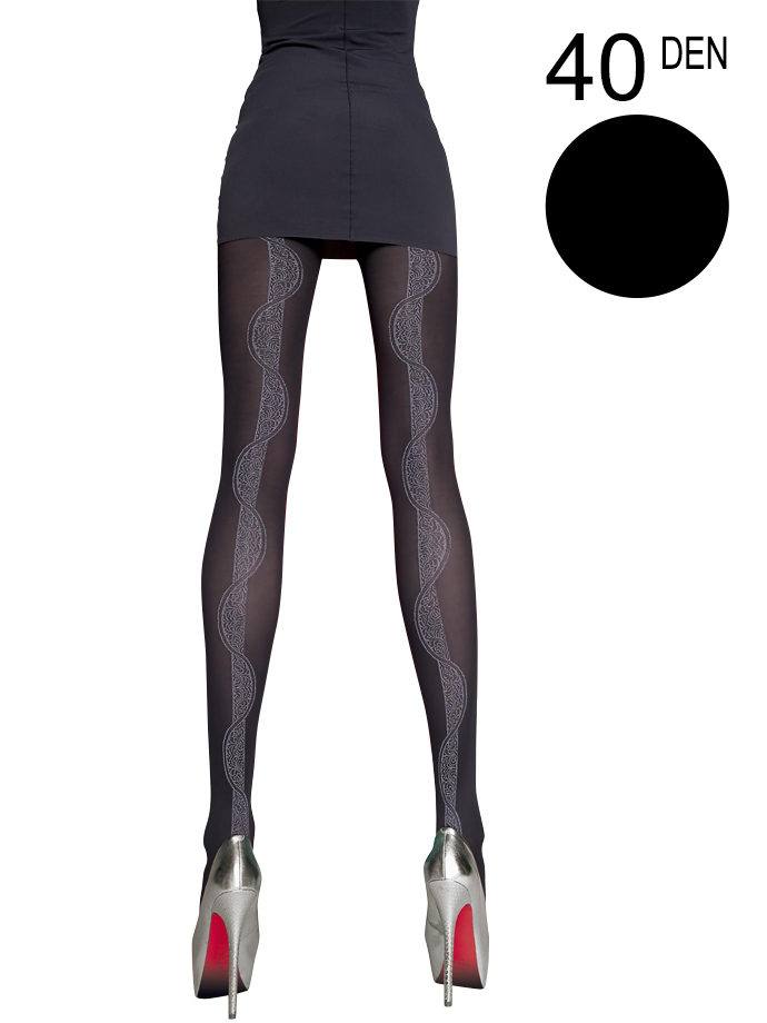 Fiore - Patterned Tights Hortensia Black