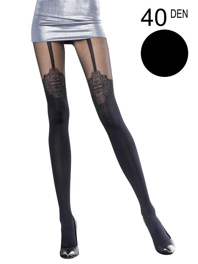 Fiore - Patterned Tights Malaga Black