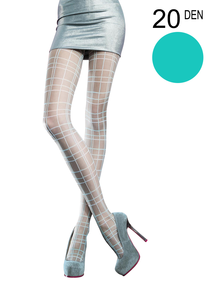 Fiore - Patterned Tights Margot Turquoise