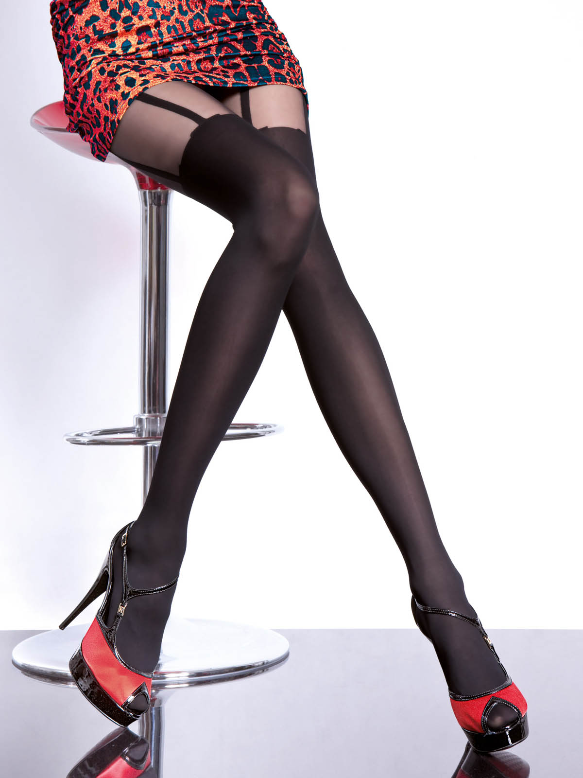 Fiore - Patterned Tights Milla Black
