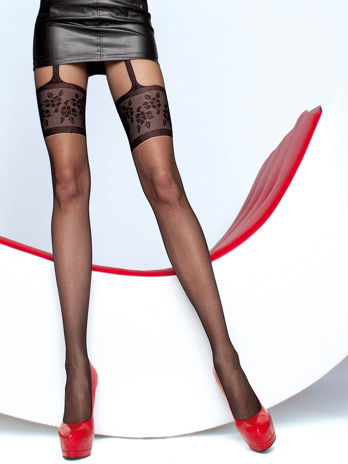Fiore - Patterned Tights Muriel Black