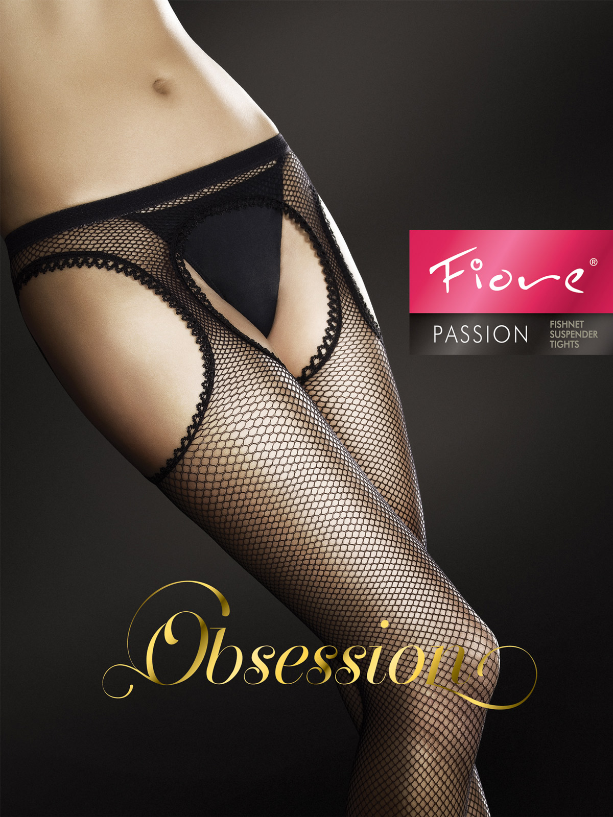 Fiore - Fishnet Suspender Tights Passion White