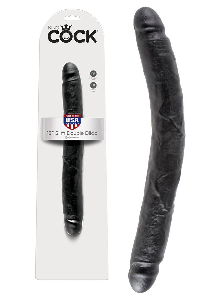 King Cock - 12 inch Slim Double Dildo Black