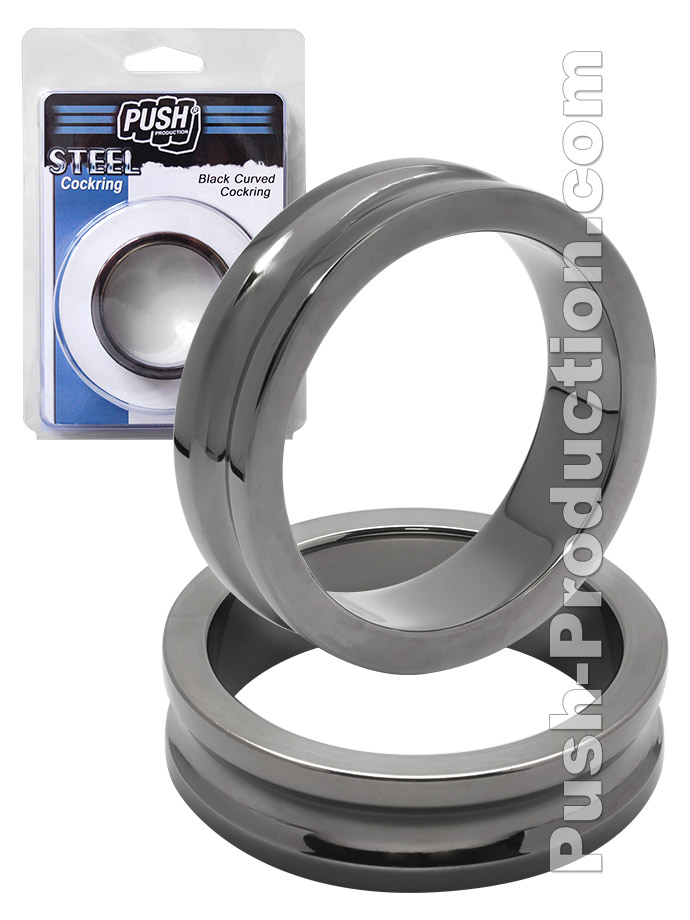 Push Steel - Black Curved Cockring