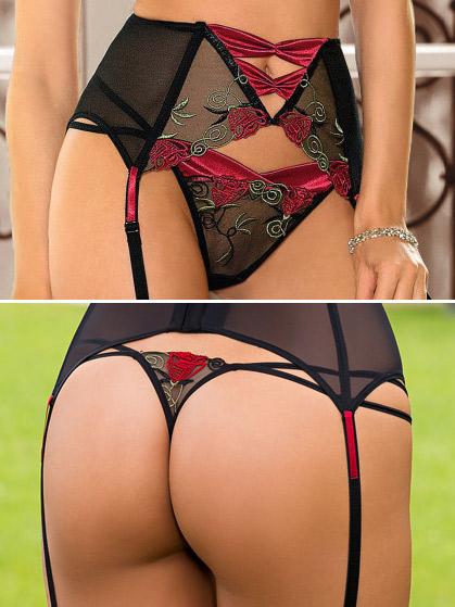 Roza - Thong Rufina Black-Red