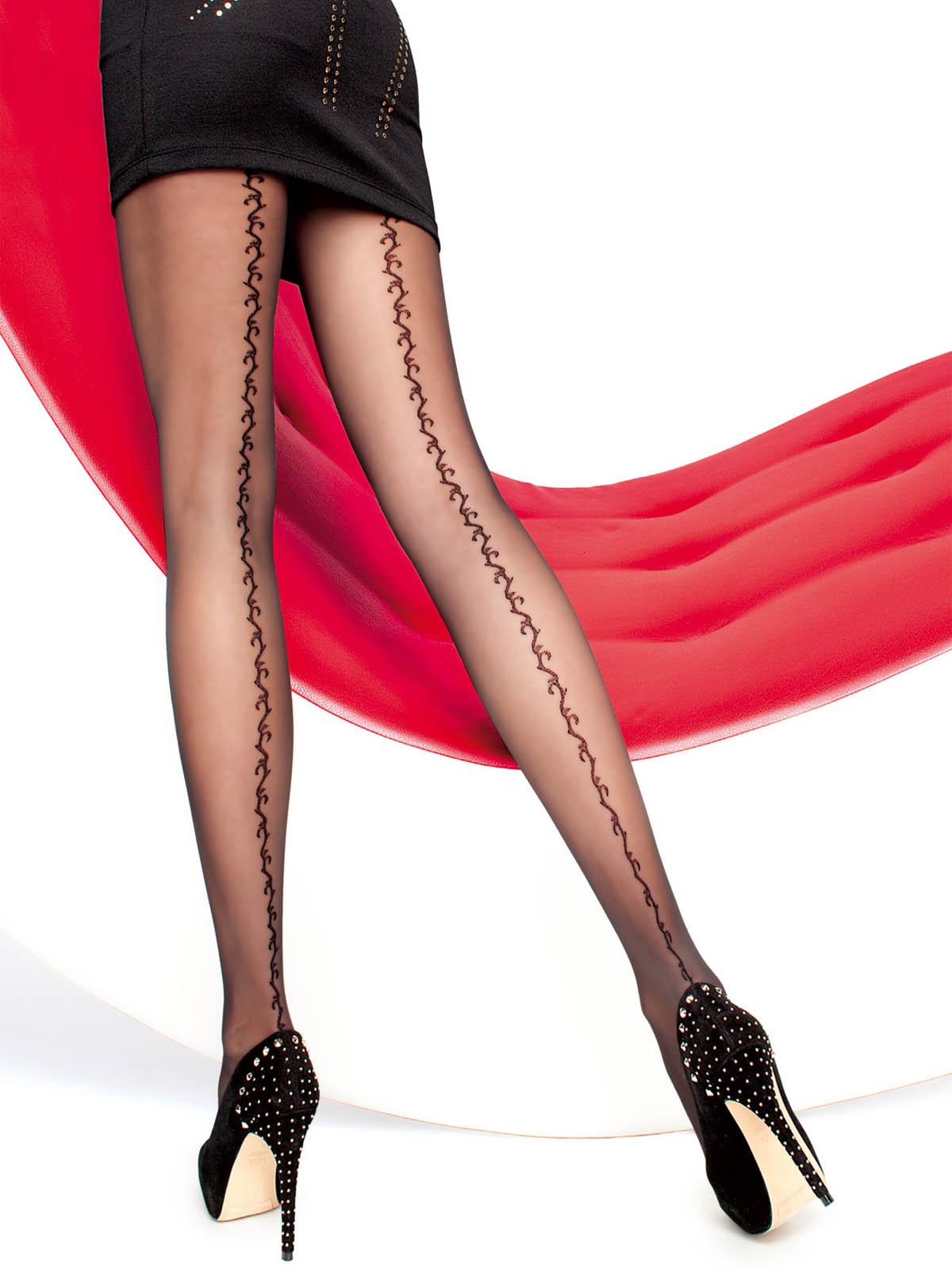 Fiore - Patterned Tights Saphira Black