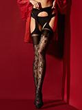 Fiore - Suspender Tights Amorosa Black
