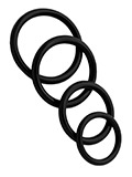 4 Rubber Cockring Set - Black