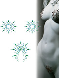 Gloria - Breasts and Pubic Jewelry - turquoise/green